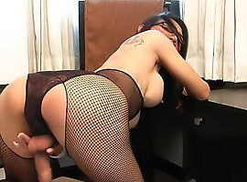 Smoking hot ladyboy in glasses and stockings