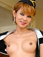 Slender ladyboy with great tits shows off her sexy body