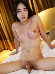18yo Thai ladyboy Alice sucks and gets fucked by big white cock